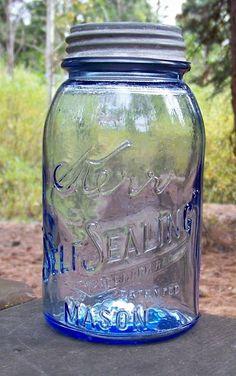 Cornflower Blue Kerr Mason Canning Fruit Jar