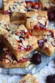 Thick and Gooey Bakewell Blondies with Ground Almonds, Raspberry Jam, and Flaked Almonds on top! Heaven in every Bakewell Bite. Tray Bake Recipes, Brownie Recipes, Baking Recipes, Dessert Recipes, Cake Recipes, Recipe With Ground Almonds, Janes Patisserie, Sweet Cooking, Almond Cakes