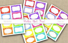Bright Polka Dot Labels Printable tags Digital by 1stChoiceShop