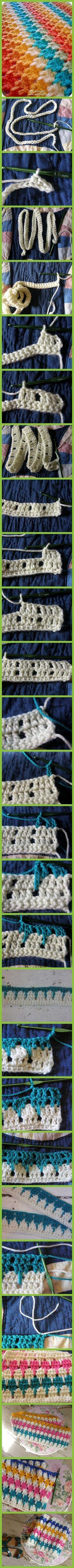 Pretty crochet blanket!.