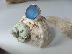 Sea Glass Ring, Sea Glass Jewelry, Sterling Silver, Unique Blue, Beach Glass