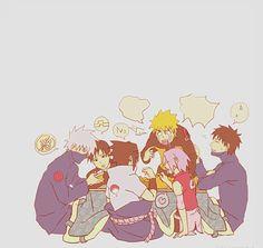 Team 7 all sitting down together at dinner! Kakashi, Sai, Naruto, Sasuke, Sakura and Yamato.