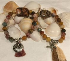 Ocean Agate Beaded Boho Beach Bracelet (8mm) with Jasper Focal, Sterling Silver Beads, Tassel and Silver Starfish Shell Charm by DreamCuff on Etsy