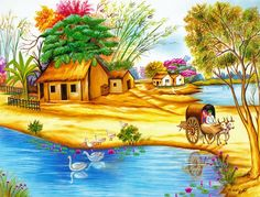 Indian Village (Reprint on Paper - Unframed) Scenery Paintings, Indian Art Paintings, Landscape Paintings, Beautiful Scenery Drawing, Scenery Drawing For Kids, Village Scene Drawing, Art Village, Indian Village, Poster Color Painting