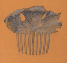 Lalique: Drawing for a comb depicting an autumn leaf | c. 1899-1905 | pencil, black ink and gouache on tracing paper. Musée d'Orsay