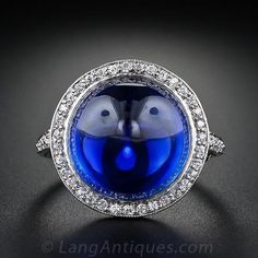 Edwardian Gem Cabochon Sapphire and Diamond Ring $115,000.00 http://www.langantiques.com/products/item/30-1-845