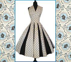 Vintage 1950s Dress Halter Full Circle Novelty Print Dress Ballerina Mad Men Cupcake Garden Party Pinup Bombshell Rocabilly Shelf Bust by vintagediva60, $159.99  enough descriptions?