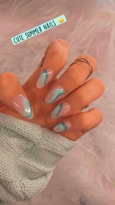 Blue Acrylic Nails, Acrylic Nails Coffin Short, Simple Acrylic Nails, Summer Acrylic Nails, Spring Nails, Cute Summer Nails, Nail Art Blue, Nail Ideas For Summer, Coffin Nails