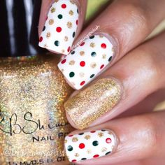Christmas dotticure nailart in red, green, + gold with glitter accent nail @lemmingspolish