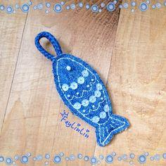 Two-sided keychain made from old jeans (Двухсторонний брелок из старых джинсов) ____________________________ #FeyLinLin, #denim, #fish, #keychain, #beads, #sequins, #embroidery, #джинса, #рыба, #брелок, #вышивка, #бисер пайетки