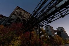 The long abandoned coal breaker in Ashley, PA juxtaposed against beautiful autumn leaves under the full moon.