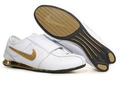 huge selection of cfbe8 28a7e Mens Nike Shox R3 Velcro White Gold Grey- 78.77 Mens Nike Shox, Nike Shox