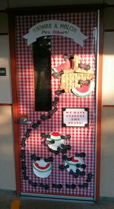 """Here's my picnic theme class door! Thanks a melon and we've enjoyed the feast are my silly puns.ants watermelons picnic basket or """"Ant"""" ticipate a great year! Classroom Door, Classroom Themes, Classroom Organization, Classroom Resources, Future Classroom, Preschool Door, Preschool Bulletin Boards, Bullentin Boards, Preschool Ideas"""