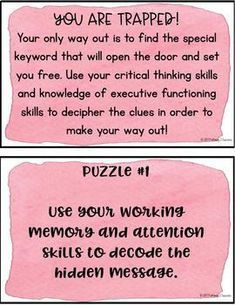 Executive Functioning Escape Room Activity by Pathway 2 Success Escape The Classroom, Escape Room For Kids, Escape Room Puzzles, Classroom Games, Escape Room Team Building, Breakout Boxes, Youth Lessons, First Day Of School Activities, After School Club