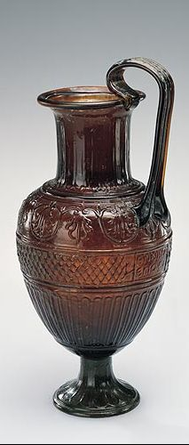 """Exquisite Single handed jug signed by Ennion. Blown in a four-part mold. Roman, first half of 1st century A.D. Collection of the Corning Museum of Glass, Corning, New York. ENNION EPOIEI: """"Ennion Made Me."""""""
