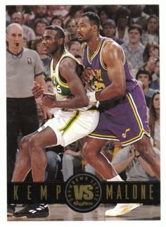 Shawn Kemp / Karl Malone # SS 7 - 1993-94 SkyBox Premium Basketball Showdown Series