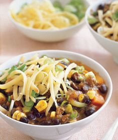 Southwestern beef chili with corn. we made this the other night and it was DELICIOUS. really easy, really good, and really filling with a ton of veggies.