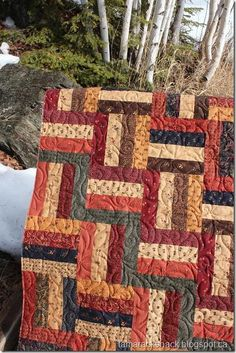 Railfence ~ Love the fabrics and the clean lines in this quilt!!