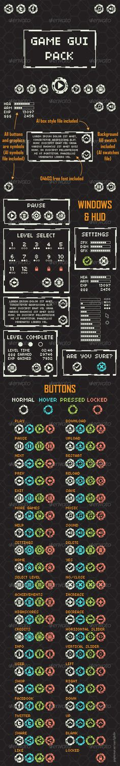 Game GUI Pack  #GraphicRiver         Fully scalable & resizable vector graphic user interface pack for arcade game   - AI box style file included - All buttons and graphics are symbols (AI symbols file included) - 04b03 free font included - Background fill swatch included (AI swatches file)   Have fun and don't forget rate it, if you like it      Created: 12May13 GraphicsFilesIncluded: JPGImage #VectorEPS #AIIllustrator Layered: Yes MinimumAdobeCSVersion: CS Tags: arcade #background #box…