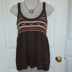 Hollister Sweater Tank Perfect for summer.  Sweater Tank in brown with orange & cream design. Hollister Tops
