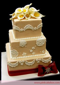 Square Wedding Cake with Calla Lilies by Pink Cake Box
