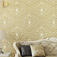 52.25$  Buy here - http://aliixw.worldwells.pw/go.php?t=32336561999 - Luxury Homes Decor Living room Bedroom Damask Flock Diamond Wallpaper For Walls 3 D Embossed Modern Wall paper Rolls R407