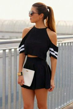 black cut out cropped top + short outfit