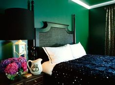 majorly in love with a dark green bedroom wall. saw another one on designsponge. so lush