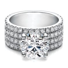 Quad Pave Band Diamond Engagement Ring