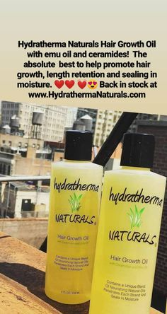 Hair growth oil - Hydratherma Naturals Hair Growth Oil with emu oil and ceramides! The absolute best to help promote hair growth, length retention and sealing in moisture. ❤️❤️ 💓😍 Back in stock at www. Hair Growth Oil, Natural Hair Growth, Natural Hair Styles, Black Natural Hair Care, Black Hair Care, Vitamins For Beard Growth, Oils For Men, Best Natural Hair Products, Relaxed Hair