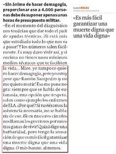Sobre las trabas para aferrarse a la vida... el testimonio de esta enferma de ELA, que hoy protagoniza una interesante entrevista en el diario El Periódico pinned with Pinvolve - pinvolve.co