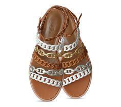 Kalliste Sandales en veau Nappa et veau Nappa métallisé, maillons Chaîne d'Ancre, boucle en permabrass, première noisette, semelle en cuir