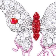 Close-up of our Elizabeth I Butterfly, which represents the Fire Element and features rubies and diamonds weighing 54.75 ct. total. Anna Hu high jewelry