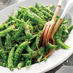 Snap Peas with Herb Butter   MyRecipes.com