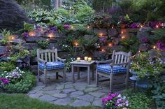 Really love the look of this retaining wall with the lights and rock pavers.