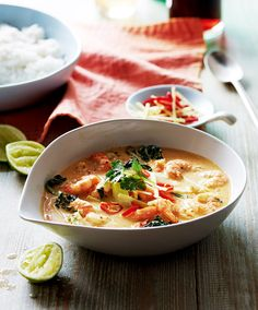 You can't beat a red Thai curry and this one, made with prawns and served with coconut rice, is ready in 20 minutes – so much quicker than a takeaway. Healthy Thai Recipes, Thai Curry Recipes, Prawn Recipes, Rice Recipes, Seafood Recipes, Asian Recipes, Cooking Recipes, Ethnic Recipes, Yummy Recipes