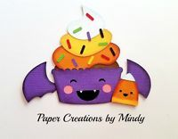 Craftecafe Mindy Kawaii Halloween Cupcake premade paper piece scrapbook title