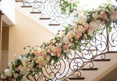 Flowers along the railing in our little wedding chapel? Dramatic flowers make for a romantic and classically beautiful wedding venue. Ceremony Decorations, Flower Decorations, Beautiful Wedding Venues, Dream Wedding, Wedding Stairs, Wedding Staircase Decoration, Floral Wedding, Wedding Flowers, Rose Pastel