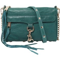 Rebecca Minkoff Mini M.A.C. Clutch in Teal ❤ liked on Polyvore featuring bags, handbags, clutches, purses, bolsas, accessories, green leather handbag, mini shoulder bag, leather clutches and green leather shoulder bag