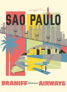 Vintage Travel Poster / Braniff - Sao Paulo