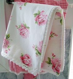 Gorgeous Floral Towel - love the little lacy trim