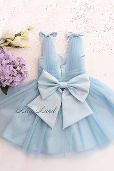 f64279ebd19 Blue Baby Girl Dress Stunning Tulle Infant dress Toddler Flower Girl Dress  tutu dress birthday girl dress with bow prom size 6 9 12 18 month