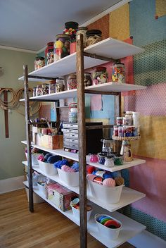 Old ladders with shelves. Wish I could find some of these old fashion flat ladders.  Will have to biuld with 1x2's or 2x4's and dowels rods.
