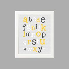 INSTANT DOWNLOAD - Alphabet Typography - 8x10 Gray and Yellow Nursery Print (no.005)