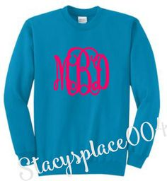 monogrammed sweater, monogrammed sweat shirt, monogrammed shirt, personalized sweater, neon blue sweater
