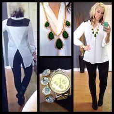Flowy blouse and black leggings