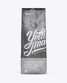 250g Matte Metallic Coffee Bag With Valve Mockup - Front View (Preview)