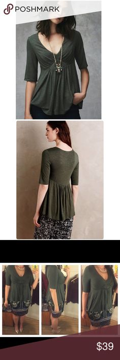 """Anthropologie Pleated Empire Tee NWT Beautiful comfy basic tee perfect for all seasons. The color is prettier in person looks fantastic—sliming and sexy. The flare (kinda peplum) hides the troubled belly area too ❤️. Length 25"""" busty ladies size up. Necklace not included😊 Size Medium. Brand New Anthropologie Tops Tees - Short Sleeve"""