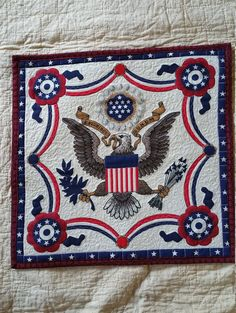 Patriotic Red White Blue Eagle Quilted Block by WoodAndFabricBarn Quilt Of Valor, Patriotic Quilts, Quilted Table Toppers, Block Wall, Quilted Wall Hangings, Square Quilt, Red White Blue, Quilt Making, Quilt Blocks