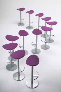 #Coma stool collection, designed by #JosepLluscà for ENEA DESIGN / Contract Furniture / #stools #barstools #furniture #seating #contract #lila #purple